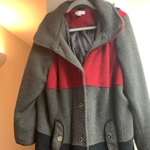 Susan Graver Colorblock Fleece winter coat